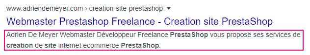 balise meta description Prestashop